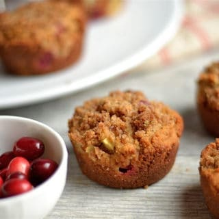Paleo Cranberry Apple Crumb Muffins