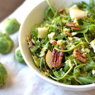 Brussel Sprout & Pear Salad with Dijon Vinaigrette