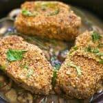 Almond Crusted Pork Chops with Mushroom Garlic Sauce
