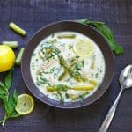 Creamy Lemon Chicken and Asparagus Soup with Basil
