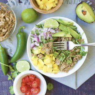 Slow Cooker Mango Jalapeño Pulled Pork Taco Bowls