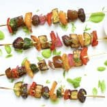 Grilled Balsamic Veggie Kabobs with Vegan Pesto