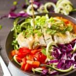 Cashew Butter Chicken Zucchini Noodle Salad