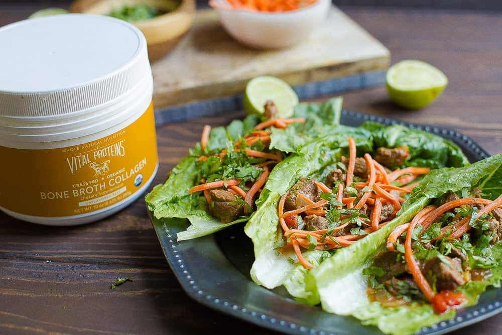 Slow cooker or instant pot thai beef lettuce wraps paleo whole30 youll love the thai flavoring and crunch vegetables in these lettuce wraps the added boost of bone broth collagen make these a nutritious option for the forumfinder Image collections