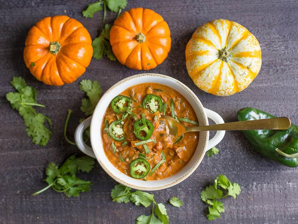 Creamy Pumpkin Chicken Chili Wholesomelicious