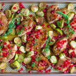 Sheet Pan Pomegranate Chicken and Brussels Sprouts