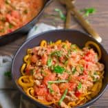 Butternut Squash Noodles with Tomato Basil Sausage Cream Sauce (Paleo)