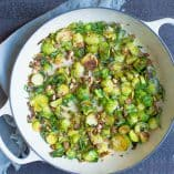Skillet Creamy Lemon Garlic Brussels Sprouts