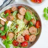 Sheet Pan Sausage, Pesto, and Roasted Tomato Noodle Bowls (Paleo)