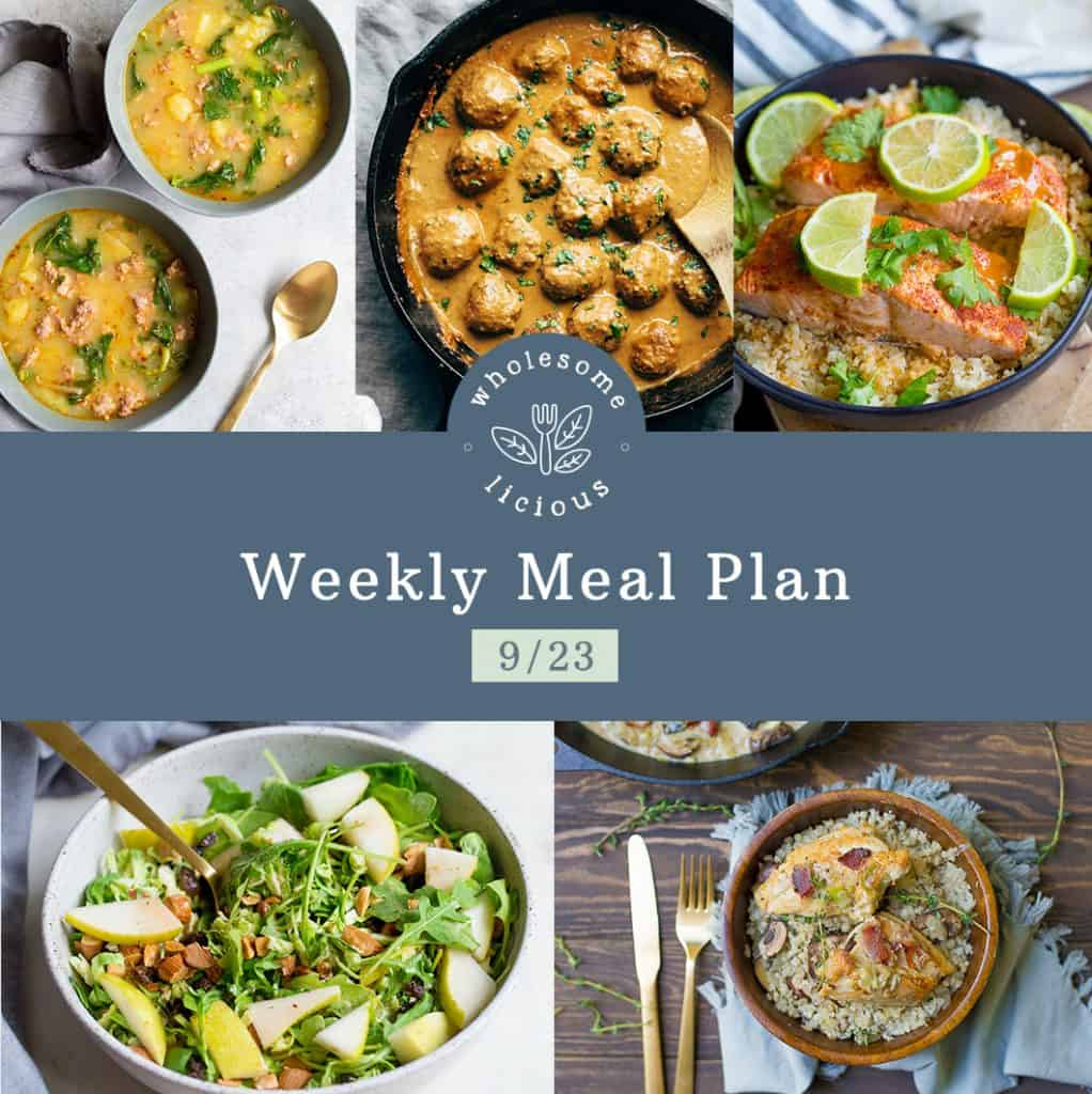 weekly meal plan wholesomelicious