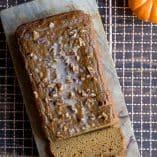 Paleo Pumpkin Bread with Chai Spiced Glaze