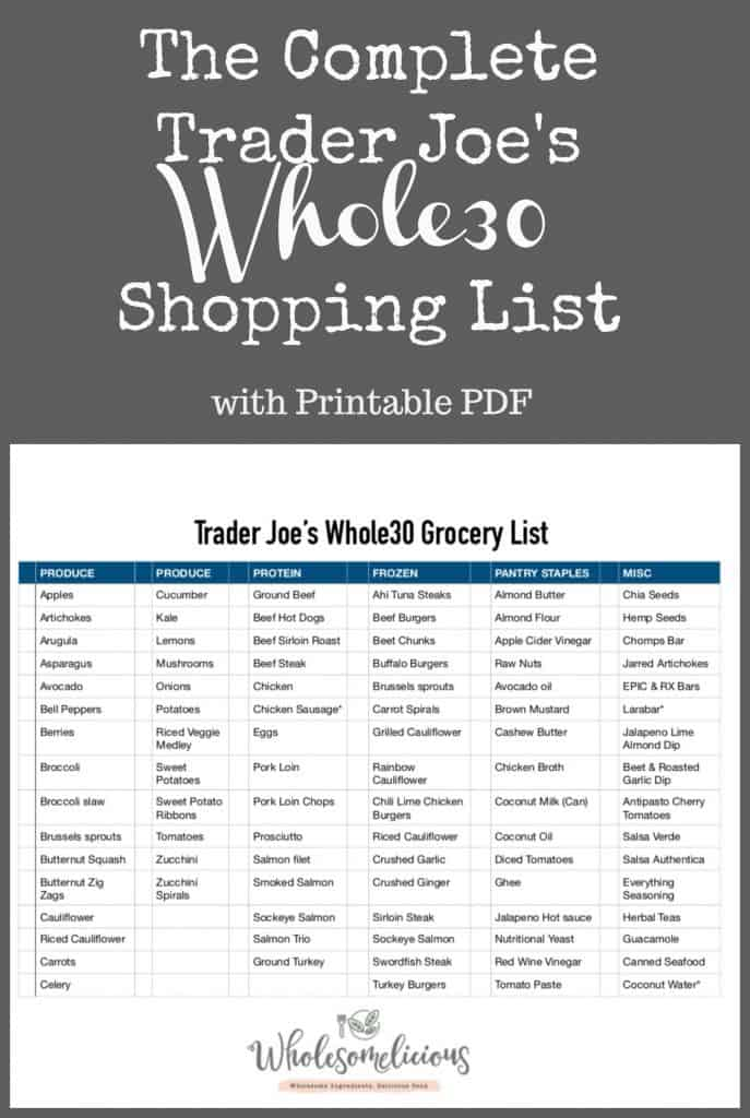Trader Joe S Whole30 Shopping List Wholesomelicious