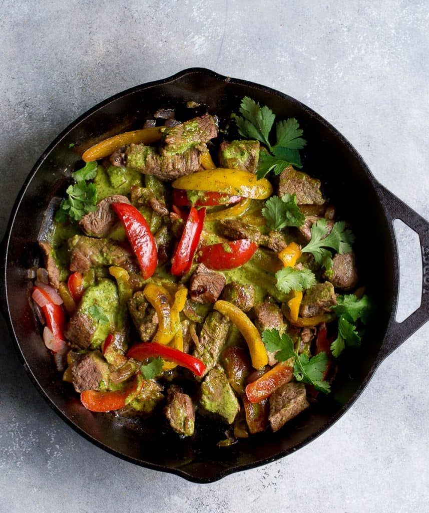 Chimichurri Steak and Pepper Skillet - Wholesomelicious