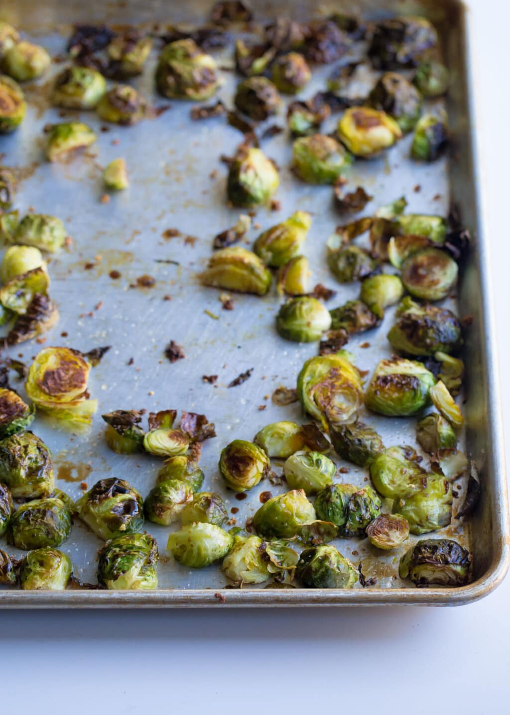 Sheet Pan of balsamic roasted brussels sprouts.