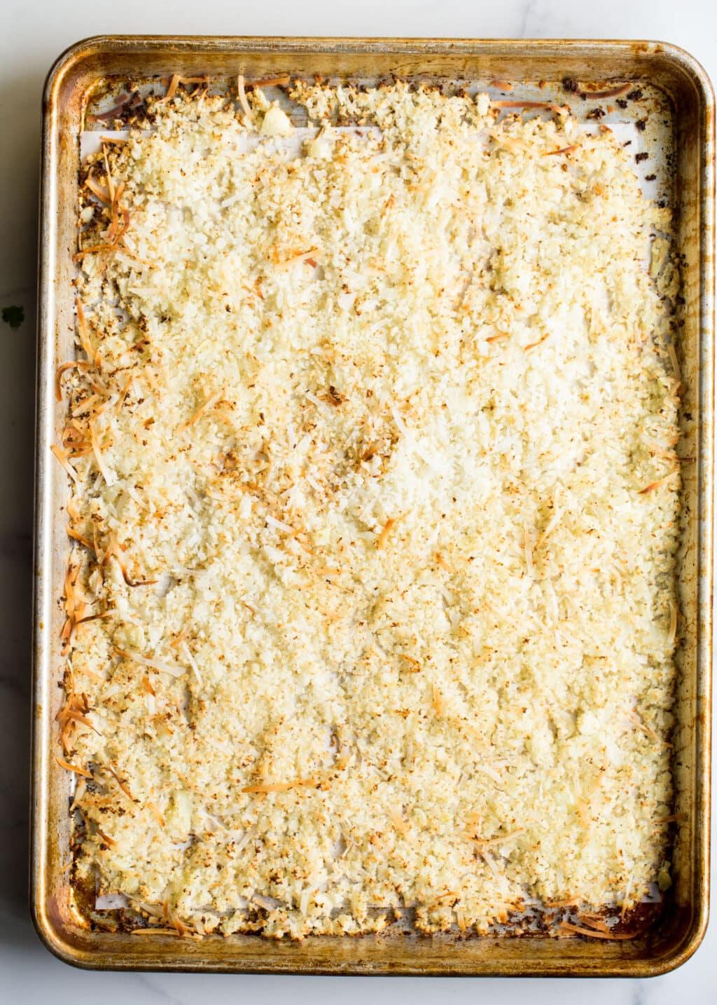 Sheet pan with roasted cauliflower rice