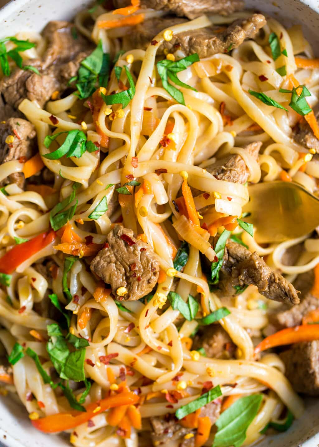 Close up photo of Thai Noodles with Beef, carrots, peppers, and basil